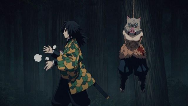 Demon Slayer Kimetsu No Yaiba Episode 19 Giyu Ties Up Inosuke