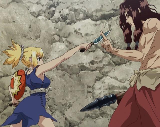 Dr Stone Episode 6 Tsukasa Blocks Kohaku's Attack