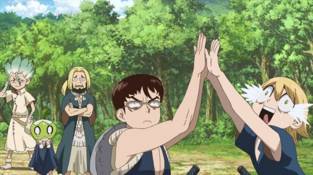 Dr Stone Episode 21 Kinro and Ginro Celebrate no more Hand Powered Electricity