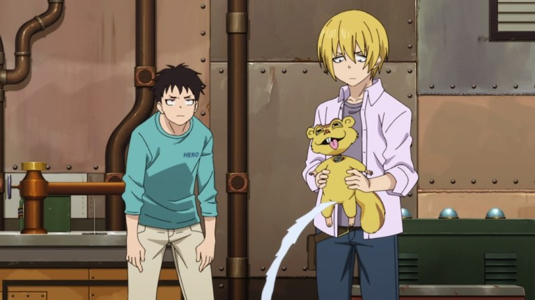Fire Force Episode 15 Shinra and Arthur with Peeing Toy