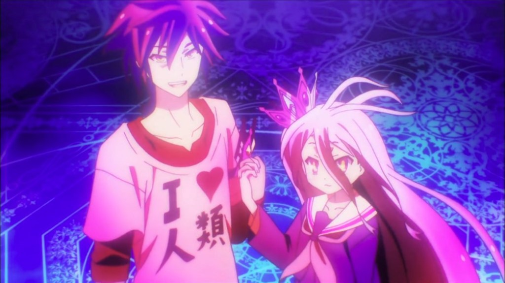 No Game No Life Sora and Shiro Challenging Old God