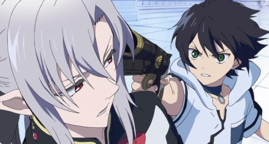 Seraph of the End Vampire Reign Yu shoots Ferid