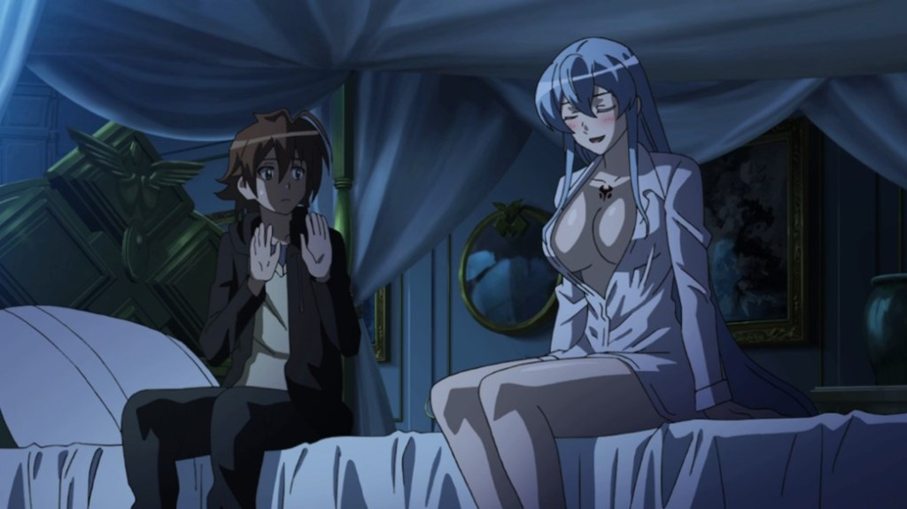 Akame ga Kill Episode 10 Esdeath trying to seduce Tatsumi