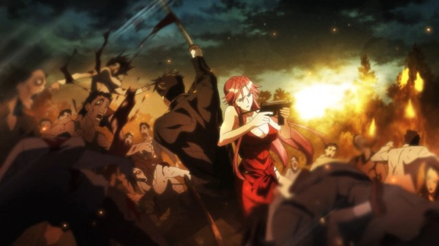Highschool of the Dead Episode 12 Soichiro and Yuriko Takagi Fighting Zombies