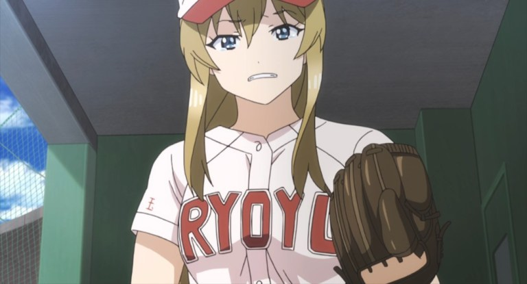 Tamayomi The Baseball Girls Episode 12 Ryoyukan's pitcher after getting pulled
