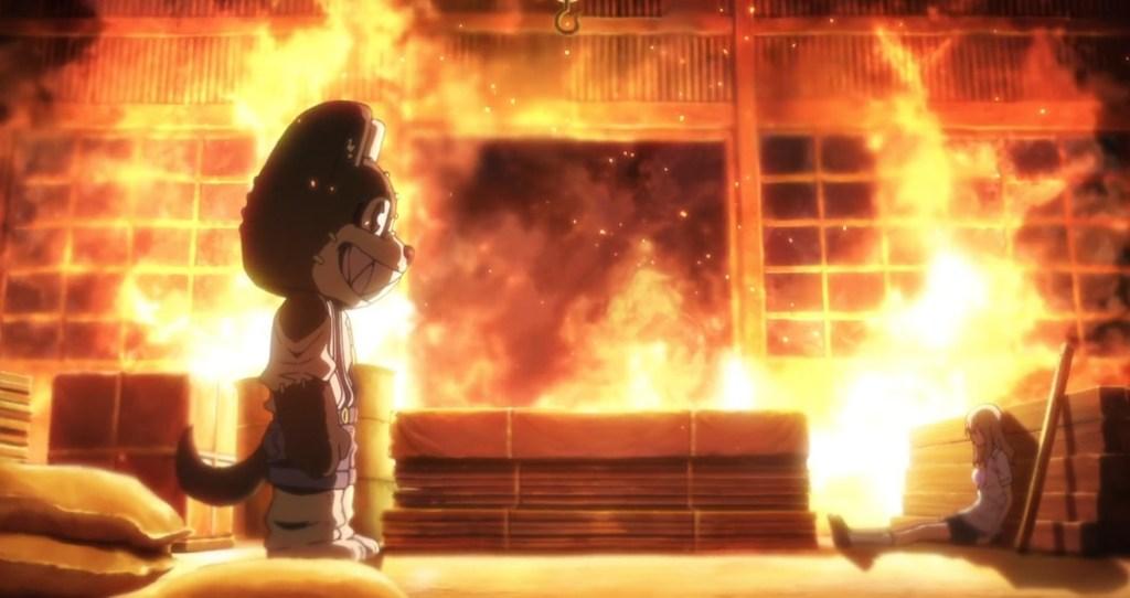 Gleipnir Episode 1 Shuuichi Kagaya in monster form approaching Clair Aoki