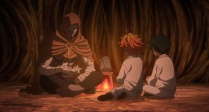 The Promised Neverland Season Two Episode 2 Sonju telling Emma and Ray about this world