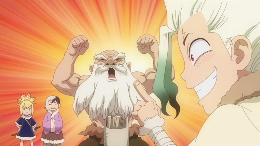 Dr Stone Stone Wars Episode 4 Senku explains new invention to Kiseki Gen and Kohaku