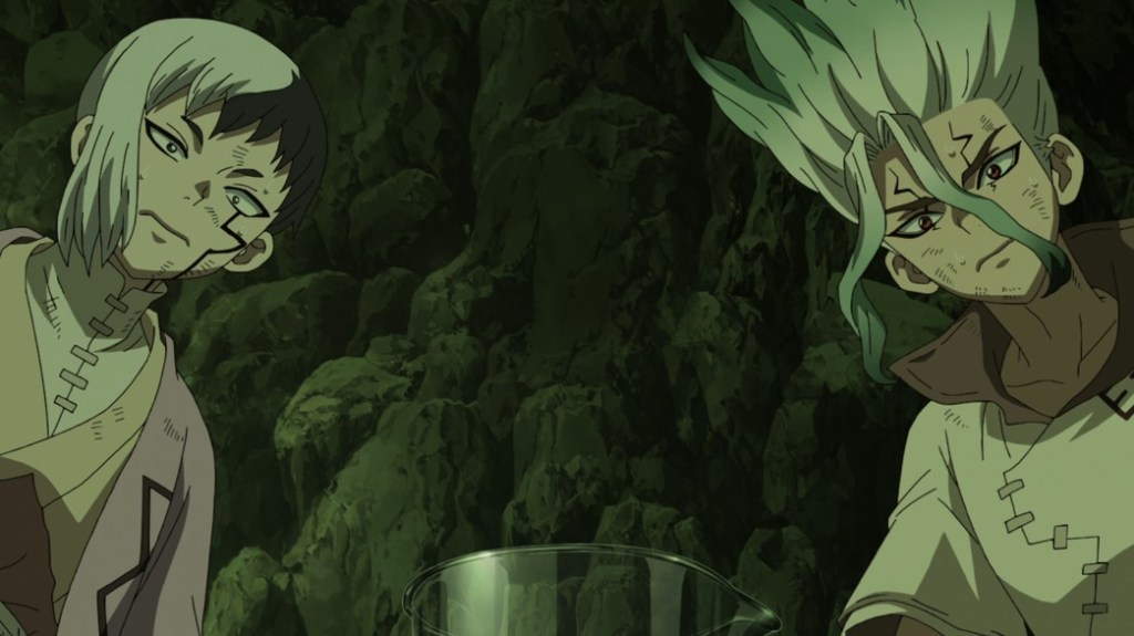 Dr Stone Stone Wars Episode 9 Gen and Senku waiting for a reaction