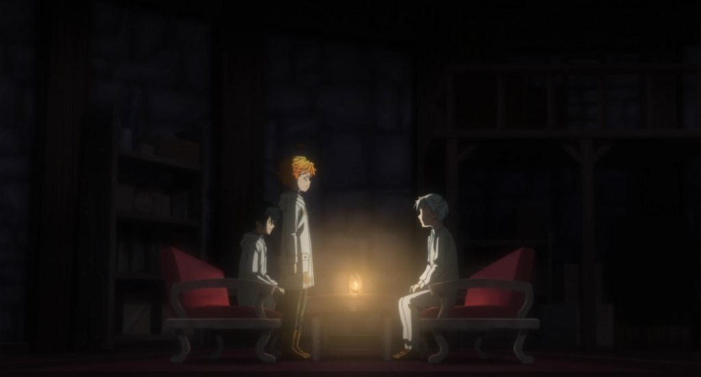The Promised Neverland Season Two Episode 7 Emma and Ray meet with Norman