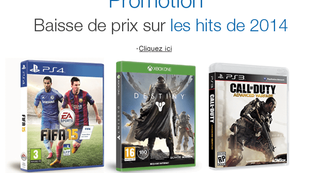 Destiny, Call of Duty Advanced Warfare et Fifa 15 en promotion chez Amazon !