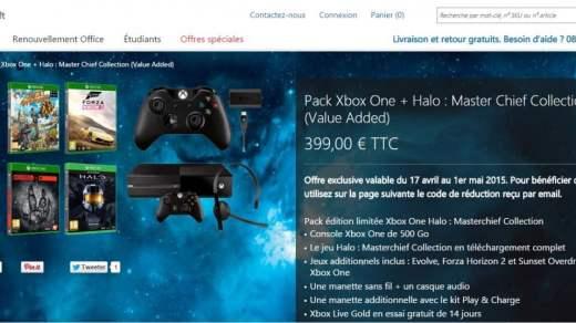 Une Xbox One + 2 manettes + 4 jeux à 399€ ? Go !