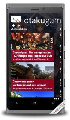 L'application Otakugame.fr pour Windows Phone 8