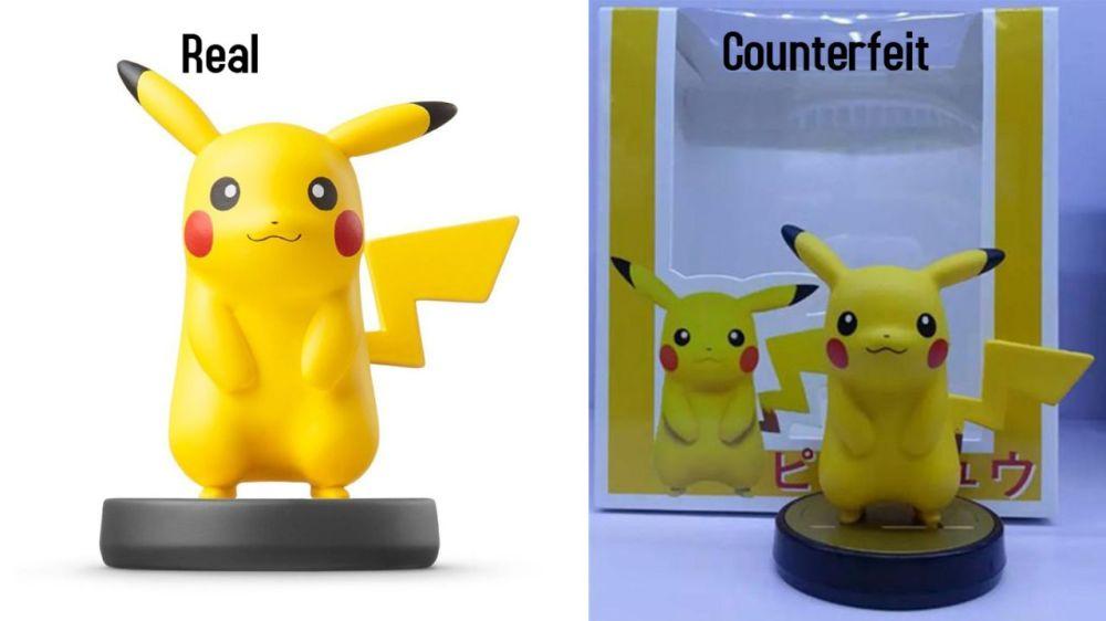 """Et voilà un fake amiibo pikachu près d'un """"legit"""" Amiibo ^^ !"""
