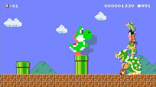 Est-ce que Mega Yoshi de laine aura cet effet dans Mario Maker ?