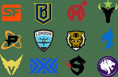 Les 12 équipes actuellements inscrites pour l'Overwatch League.