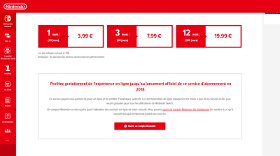 Tarifs de l'abonnement Nintendo Switch Online