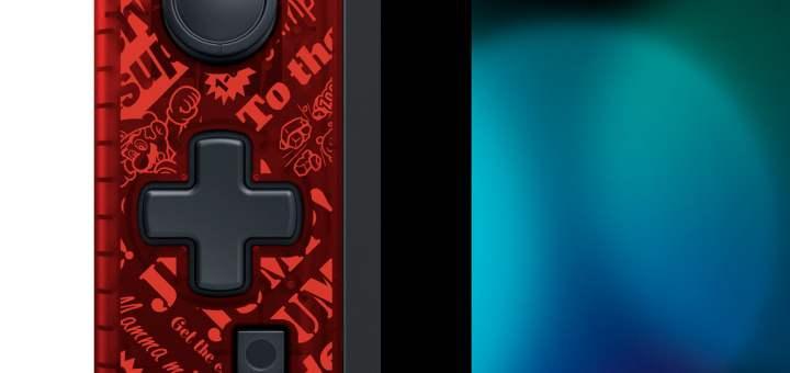 """Joycon rouge """"Mario"""" avec croix directionnelle de Hori !"""