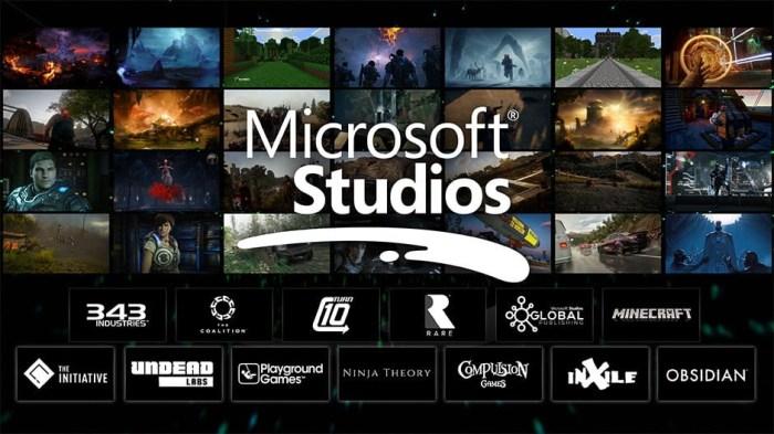 L'ensemble des studios de Microsoft actuellement