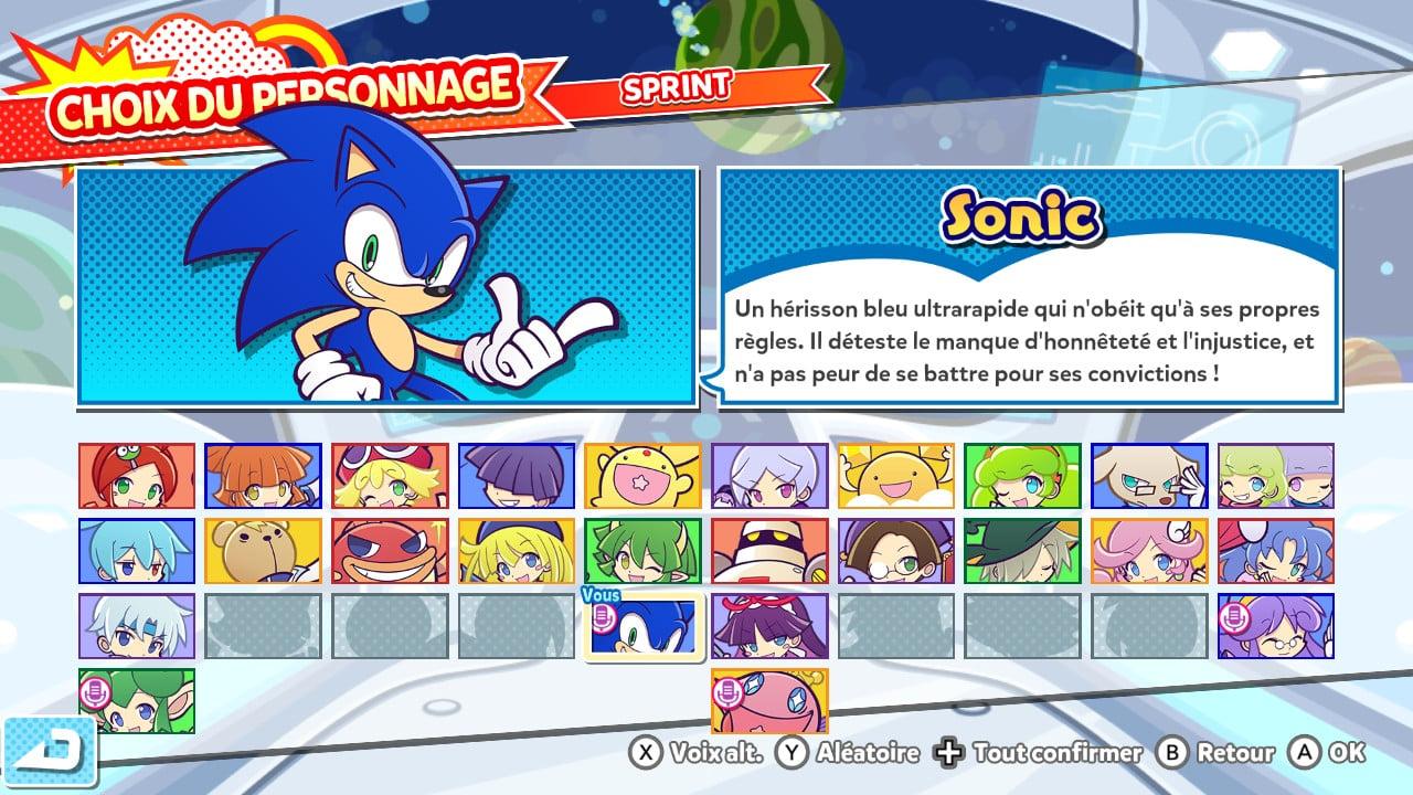 Ouais, Sonic fait parti des personnages jouables !