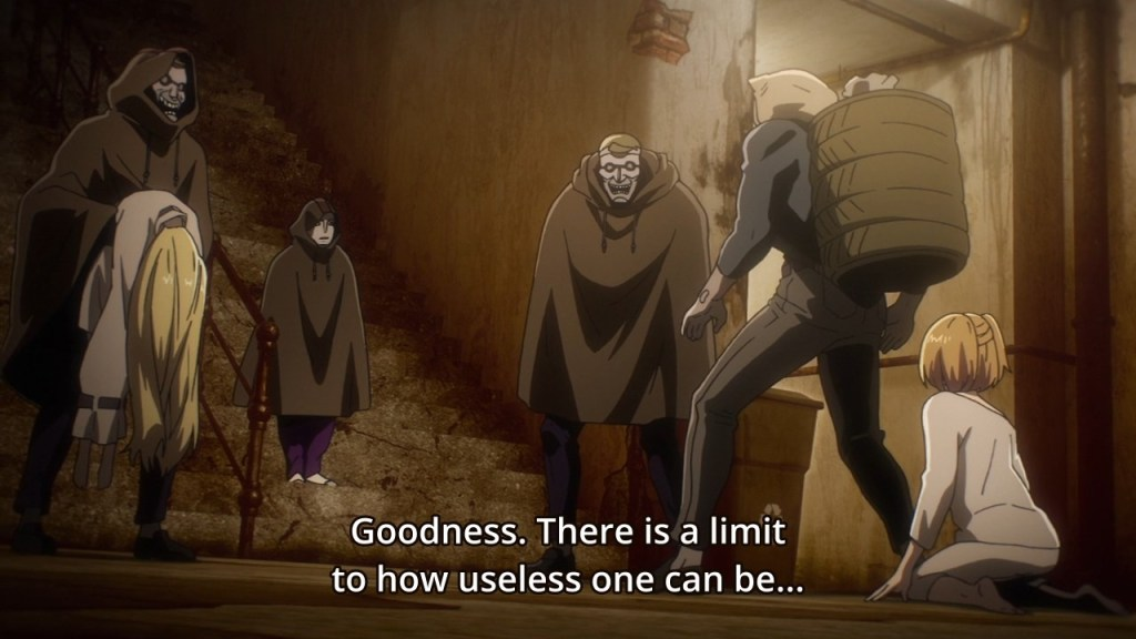 In Season 1, Episode 4 of No Guns Life, Cunningham being rude to Anne and Ende, meanwhile, Tetsuro remains in the body of Juzo.