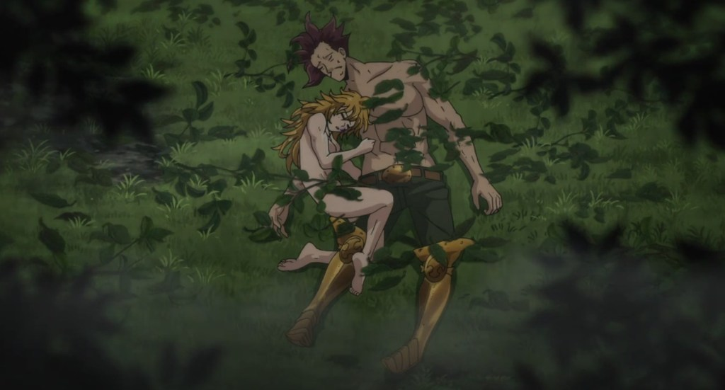 The Seven Deadly Sins Season 4 Episode 5. The Ten Commandments, Derieri and Monspeet are unconscious after Elisabeth uses her powers on them.