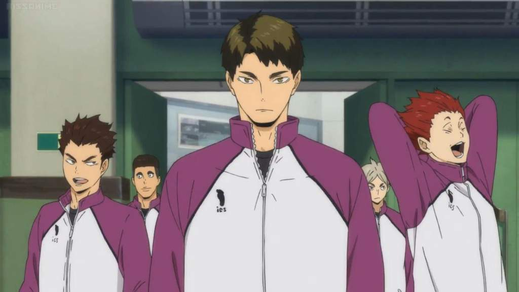 Team Shiratorizawa arrives to practice in episode 2 of Haikyuu!! Fourth Season.