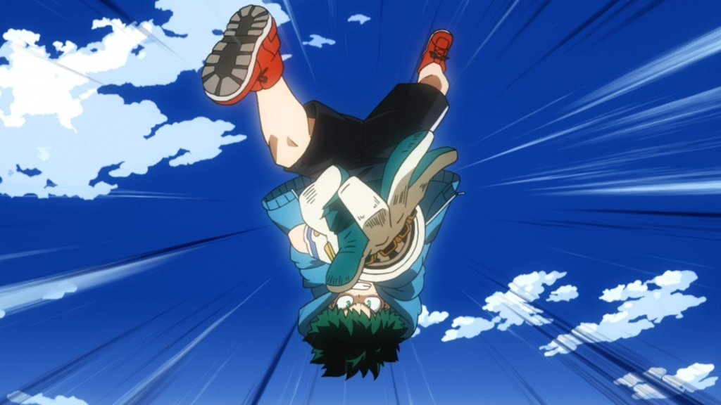 Deku using his Air Force Gloves for the first time in episode 84 of My Hero Academia