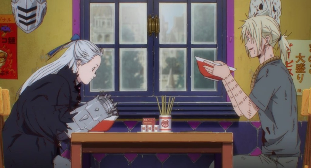 In episode 9 of Dorohedoro Noi and Shin are eating a meal together