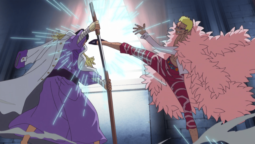 Fujitora and Doflamingo clash