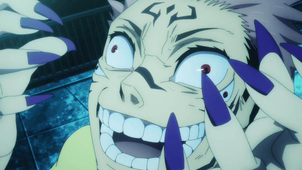 Yuji possessed by Ryomen Sukuna in episode 1 of Jujutsu Kaisen.
