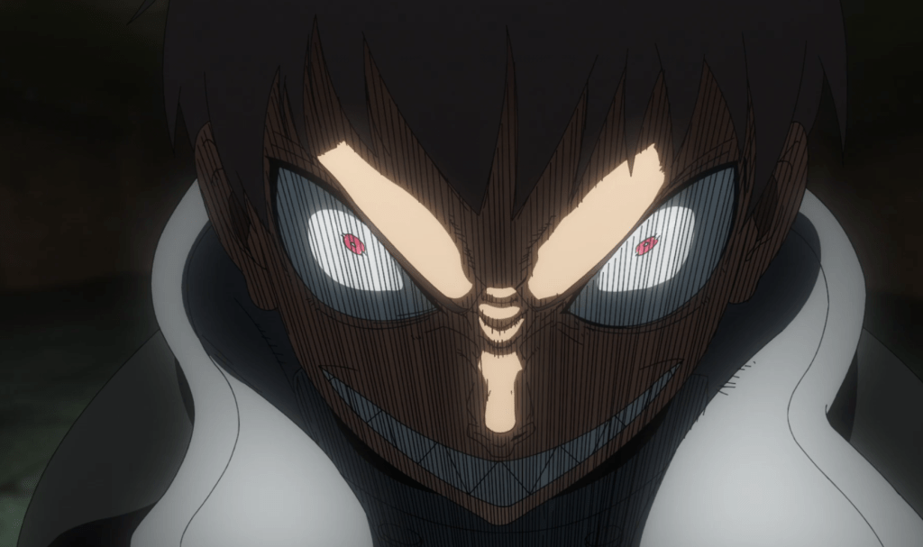 Shinra looking demonic after Dr. Giovanni mentions Sho in episode 22 of Fire Force.