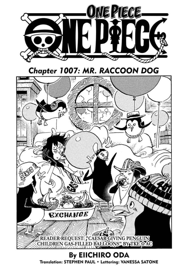 Cover of One Piece chapter 1007 - Caesar giving penguin children gas-filled balloons.