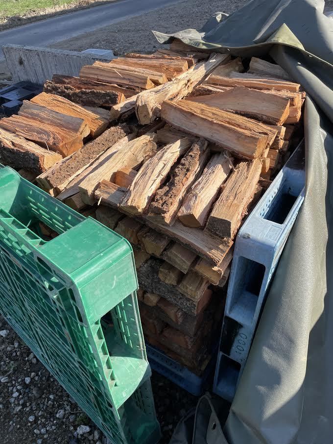 【トラックシートで薪作り】トラックシート薪をチェックした。