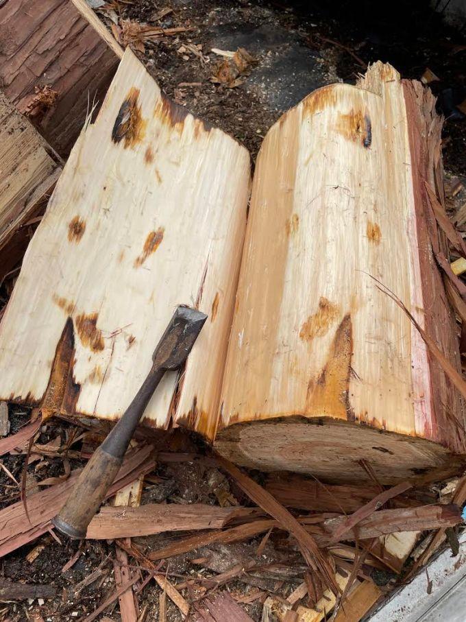 【樹皮剥き】針葉樹の皮を剥く