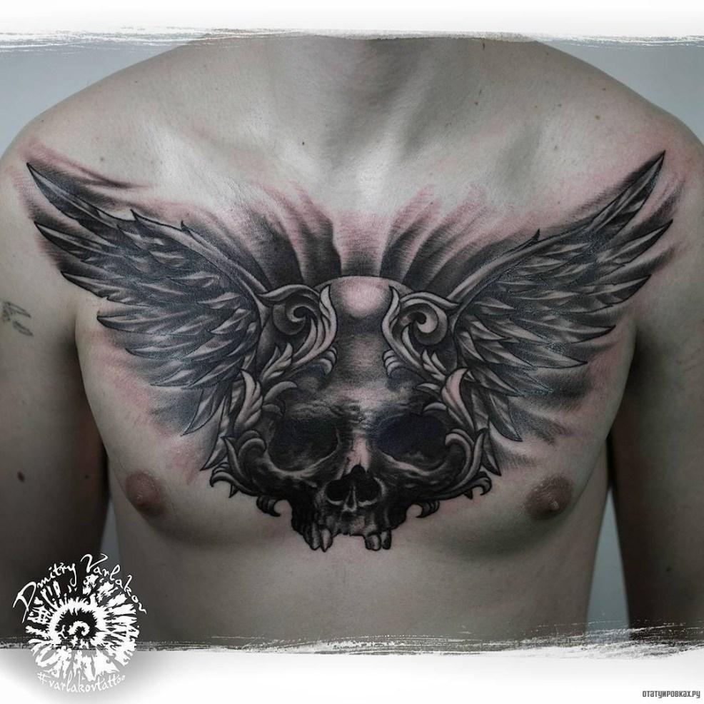 череп с крыльями тату на груди у парня добавлено иван вишневский