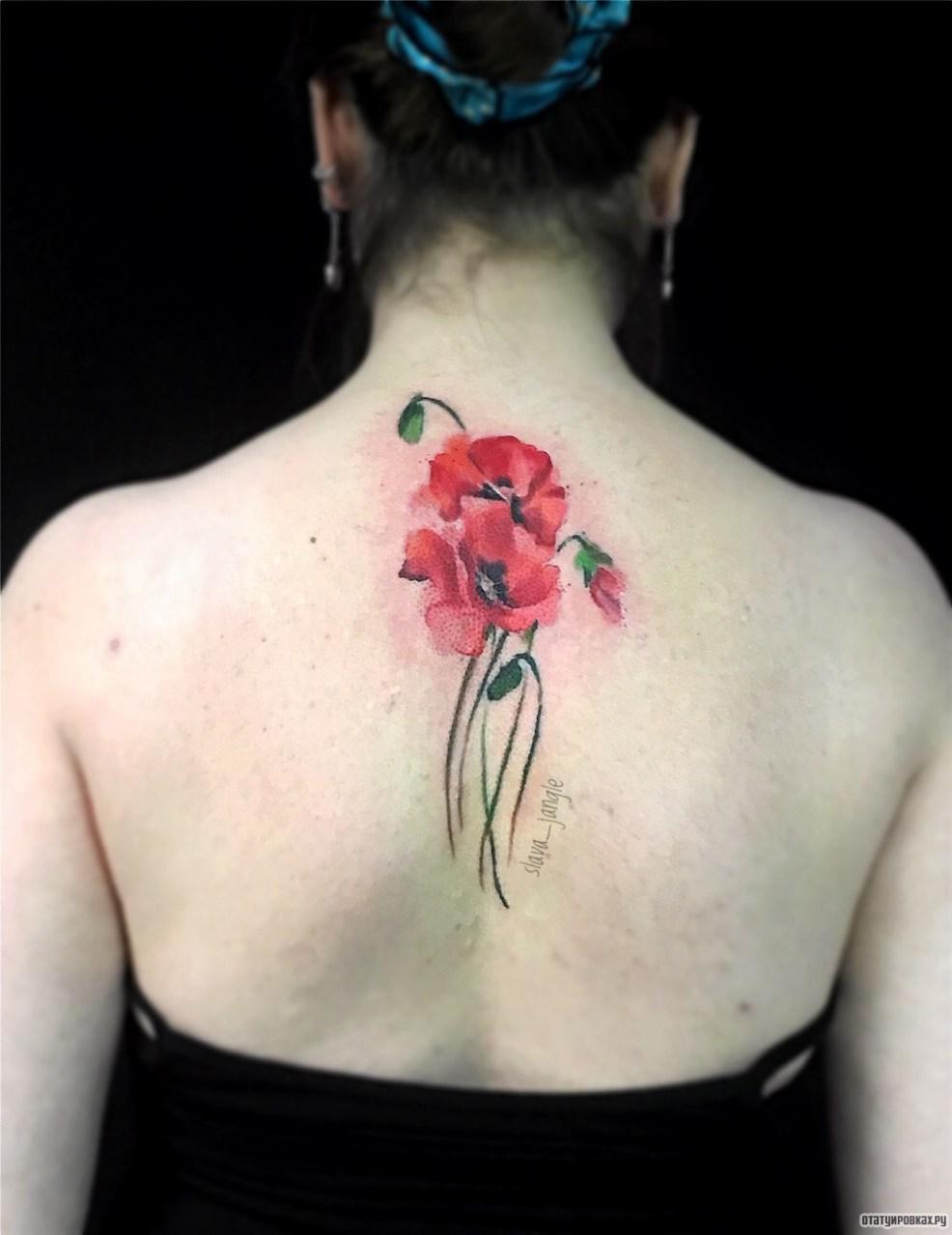 цветы мака тату на спине у девушки добавлено Slava Jangle