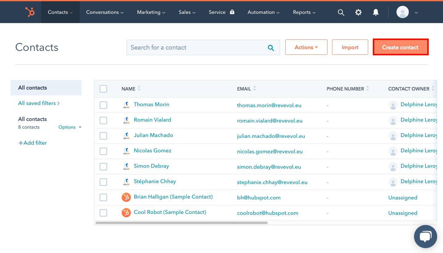 base de données clients hubspot