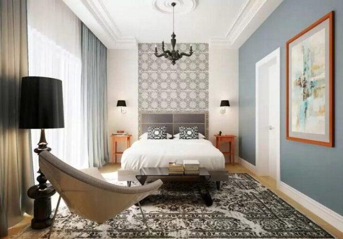 прямой подвесной потолок в спальне