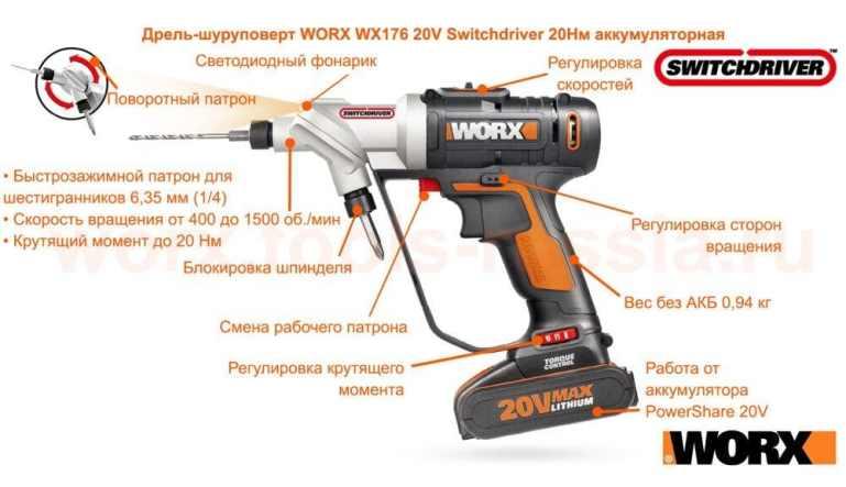 дрель-шуруповерт WORX Switchdriver WX176