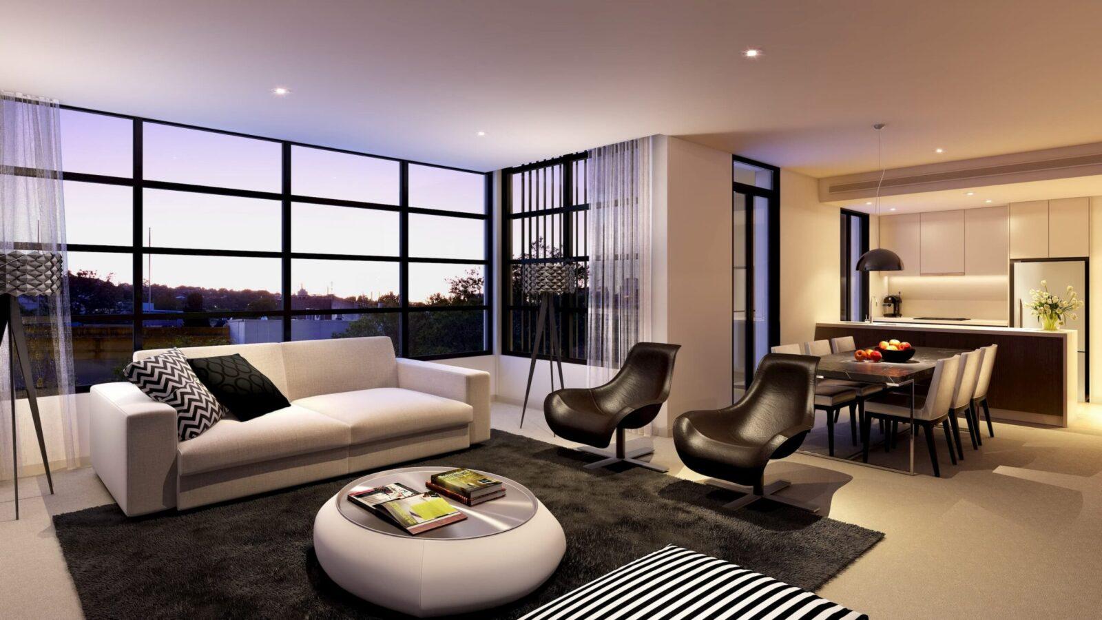 просторная гостиная-столовая в современном интерьере