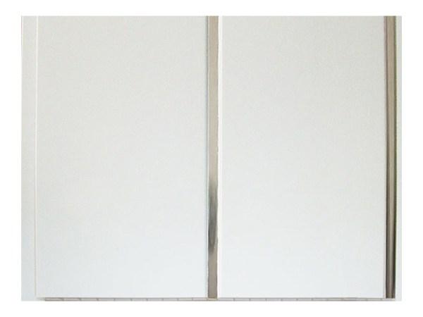 Потолочные белые ПВХ панели «Полоса серебро» 2-х секционная
