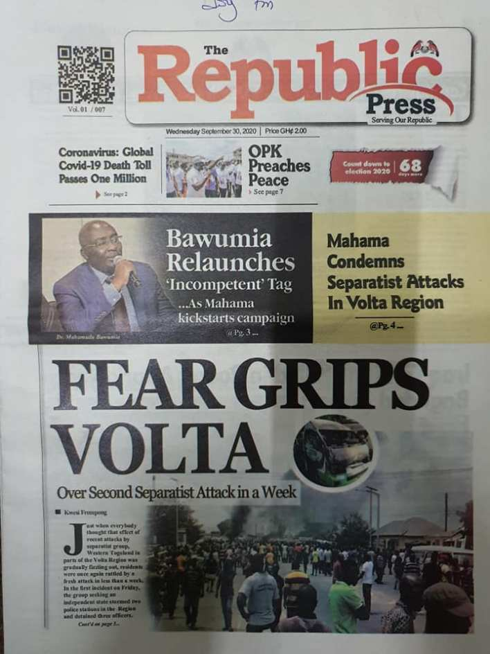 Newspaper headlines of Wednesday, September 30, 2020 96