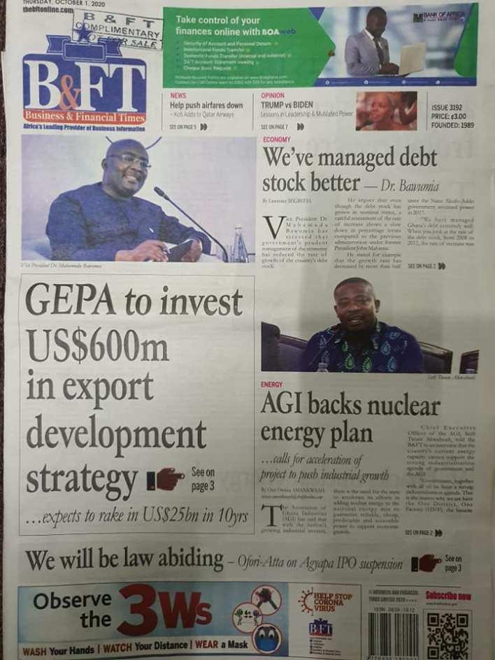 Newspaper headlines of Thursday, October 1, 2020. 59
