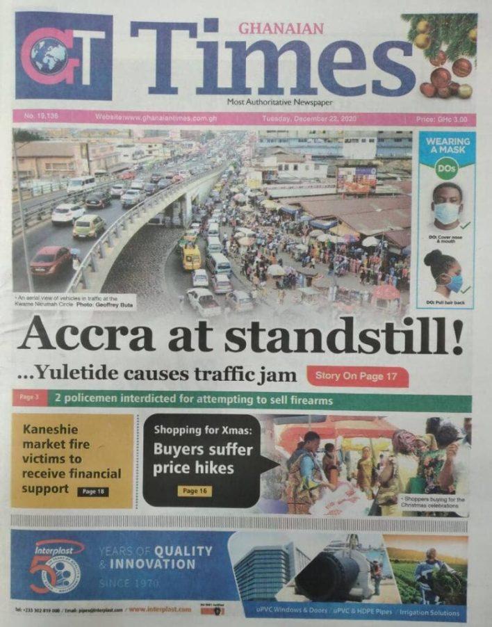 Newspaper headlines of Tuesday, December 22, 2020 21