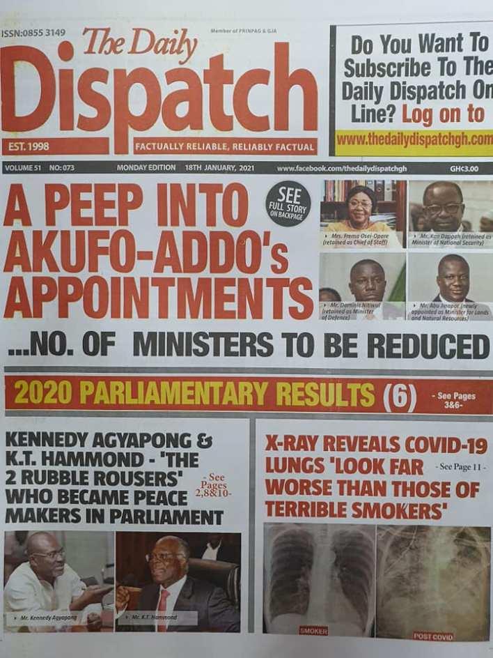 Newspaper headlines of Monday, January 18, 2021 87