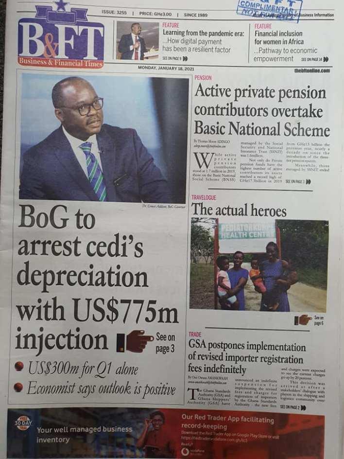 Newspaper headlines of Monday, January 18, 2021 84