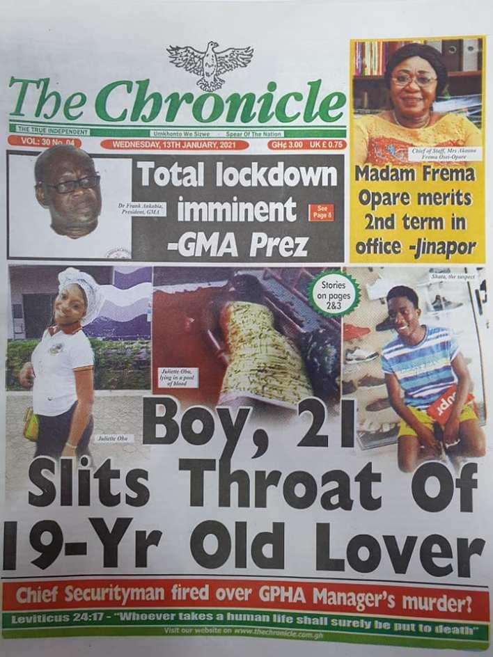 Newspaper headlines of Wednesday, 13 January , 2021 79