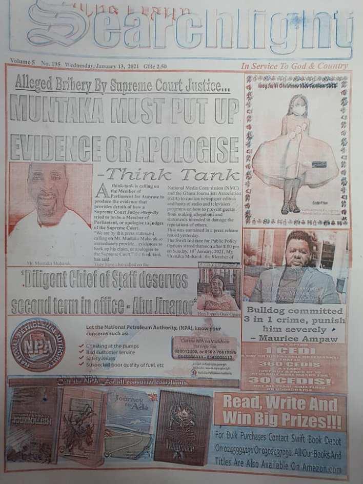 Newspaper headlines of Wednesday, 13 January , 2021 69
