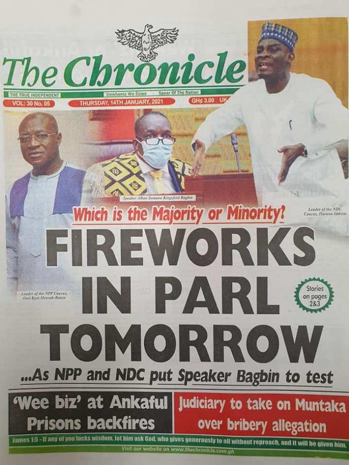 Newspaper headlines of Thursday, January 14, 2021 11